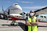 Roei Ganzarski, CEO of Magnix, in front of eCaravan, the Cessna Grand Caravan 208B electric airplane